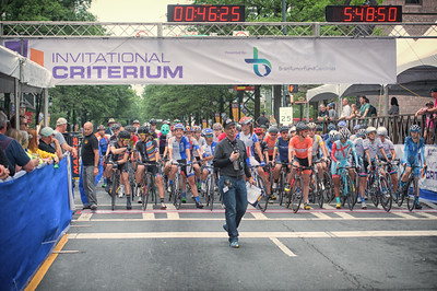 Race Director Thad Fisher prepares to start the 2016 women's race of the Charlotte Criterium presented by Novant Health.  Photo by Weldon Weaver.