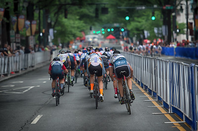 The northbound chasers spot the southbound leaders in the 2016 women's race of the Charlotte Criterium presented by Novant Health.  Photo by Weldon Weaver.