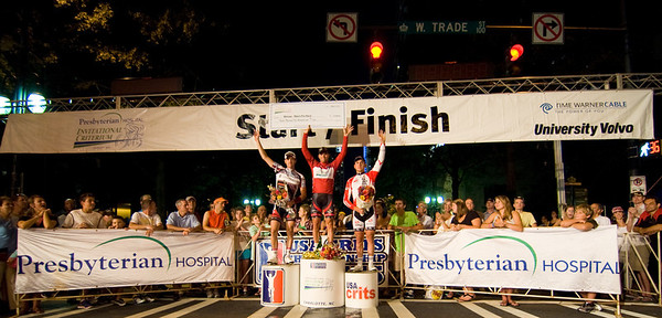 The men's podium of the 2010 Presbyterian Hospital Invitational Criterium, Charlotte, NC