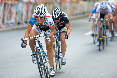 A racer attacks the women's field of the 2010 Presbyterian Hospital Invitational Criterium, Charlotte, NC