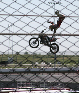 Crazy motorcycle jumps before the race