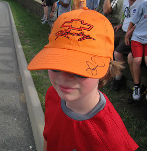 Joey and his autographed hat.