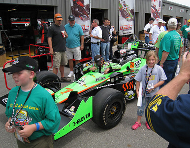 Getting Danica Patrick's car ready to bring to the track.