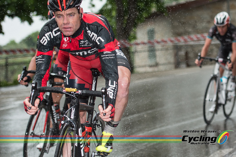 2013 Giro Stage 9  Cadel Evans.  Vallombrosa is a Benedictine abbey in the comune of Reggello (Tuscany). Photo by Weldon Weaver.
