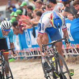 Peter Sagan makes the winning move on  Greg Van Avermaet.  Richmond 2015 World Championships.  Photo by Weldon Weaver.