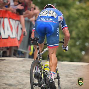 Peter Sagan makes the winning move.    Richmond 2015 World Championships.  Photo by Weldon Weaver.