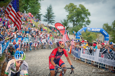 Evelyn Stevens takes to the stones to launch an attack.   15-09 World Championships Richmond 2015. Photo by Weldon Weaver