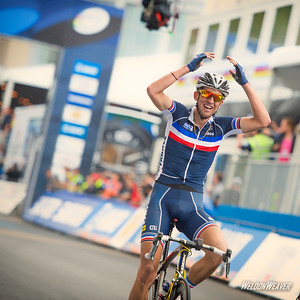 Kevin Ledanois of France wins UCI U23 men's road race.  Richmond World Championships.  Photo by Weldon Weaver.