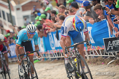 Peter Sagan makes the winning move on  Greg Van Avermaet.  Richmond 2015 World Championships.  Photo by Weldon Weaver.