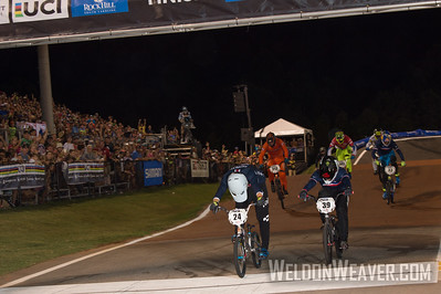 Corben Sharrah throws his bike over the finish line to win the 2017 BMX World Championship in Rock Hill, SC (USA).