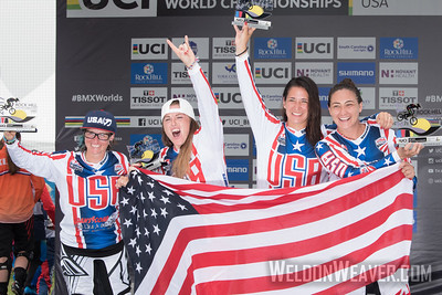 17-24 USA women celebrate on the podium of the 2017 BMX World Challenge in Rock Hill, SC (USA).