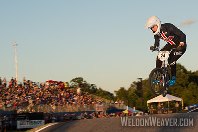 Corben Sharrah wins his quarter final race en route to winning the 2017 BMX World Championship in Rock Hill, SC (USA).