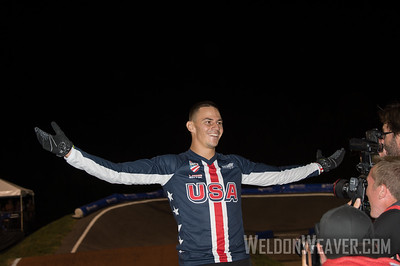 Corben Sharrah celebrates after winning the 2017 BMX World Championship in Rock Hill, SC (USA).