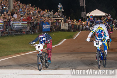 Alise Post (USA) wins the 2017 BMX World Championship with a bike throw over fast finishing, multi-time world champion Caroline Buchanan (Australia) in Rock Hill, SC (USA).