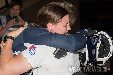 Alise Post (USA) hugs Sam Willoughby after winning the 2017 BMX World Championship in Rock Hill, SC  (USA).