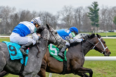 The Hurricane Hills Julep Cup, 04/06/16 Opening Day at Keeneland. Compass Zone (Hard Spun) in the lead, Florent Geroux up followed by Iconic (Paddy O'Prado), Robby Albarado up.
