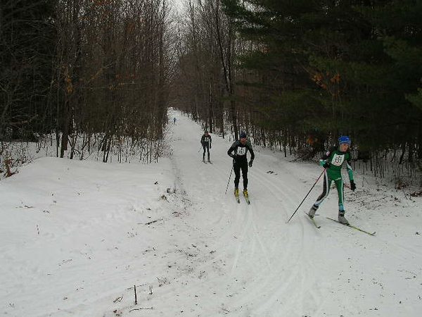 Juniors headed right for a 5km course; seniors headed left and up the hill for an additional 5km.