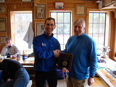 Mike Muha receives a surprise award for his work promoting the Michigan Cup on NordicSkiRacer.com.