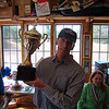 Kip Knight accepts the Baic Cup on behalf of the juniors in the Vasa Ski Club.