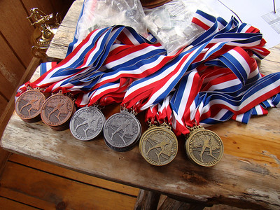The pile of medals awaiting all the 2010 Michigan Cup age group champions.