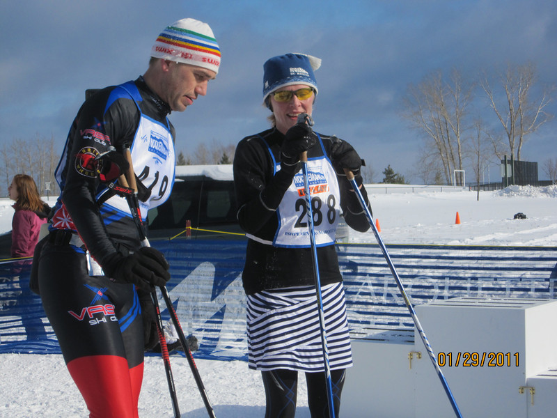 Missy Whalen, half of the Women's 51K relay relay team.. I loved her mini skirt. A first in a ski race.