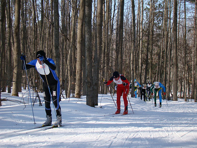 NordicSkiRacer's Yvon Dufour leads the pack in the first kilometer.