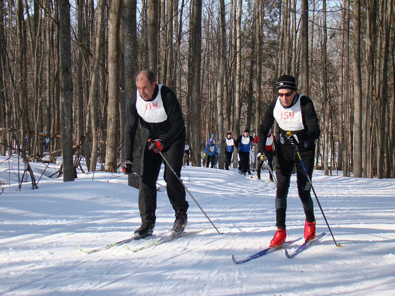 Cross Country Ski Shop owner Bob Frye making sure his team gets maximum points.