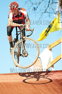 Mark Overby gets air in the Masters race.  NCCX 10 State Championships Winton Salem, NC Decmeber 18. 2011. Photo by Weldon Weaver