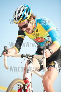 Travis Livermon attacks.  North Carolina Cyclo-cross Series -  NCCX Race #8 - Sun. December 4, 2011 - Statesville, NC. Photo by Weldon Weaver.