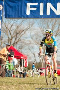 Travis Livermon wins the race.   Mr. Livermon looks on.  North Carolina Cyclo-cross Series -  NCCX Race #8 - Sun. December 4, . Photo by Weldon Weaver.2011 - Statesville, NC