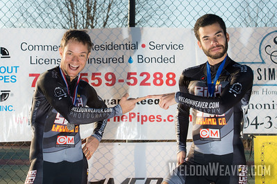 Joey Emanual  and Mansour Benkreira win some CX4 hardware for their sponsors.  2012 NCCX8 Charlotte, NC.  Photo by Weldon Weaver.