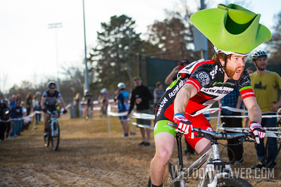 Tim Anderson hits the sandpit with a full hat of steam.  2012 NCCX8 Charlotte, NC.  Photo by Weldon Weaver.