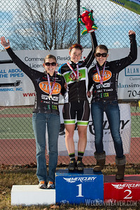NC State Champion Medalist podium: Allison Arensman, Emily Shields and Katherine Shields.  2012 NCCX8 Charlotte, NC.  Photo by Weldon Weaver.