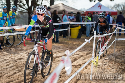 Allison Arensman and Emily Shields battle out the best NCCX race of year in any category.  2012 NCCX8 Charlotte, NC.  Photo by Weldon Weaver.