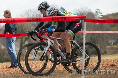 Allison Arensman fights Emily Shields to be first though the last chicanes.   2012 NCCX8 Charlotte, NC.  Photo by Weldon Weaver.