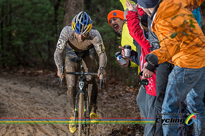 Timothy Johnson, 2nd place, gets a greeting.  North Carolina Grand Prix Day 1.  Hendersonville, NC.  Photo by Weldon Weaver.