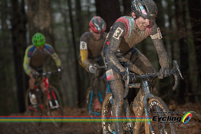 The Zach McDonald group races through the wooded section.   North Carolina Grand Prix Day 1.  Hendersonville, NC.  Photo by Weldon Weaver.