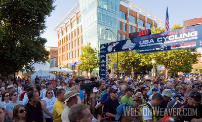 Crowd reacts to the news of Greenville winning the bid to host the 2011 USA Cycling Professional Road Championship.