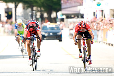 George Hincapie(l), Matt Busche(r). US Pro Cycling Championship Greenville, SC, May 30, 2011.