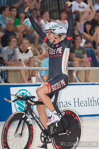 Zachary Kovalcik (Sizzle Pie Cycling) wins the Kilo to clinch the National Omnium title.  2012 USA Cycling Elite Omnium Track National Championships.  August 18, 2012. Rock Hill, S.C.   Photo by Weldon Weaver.