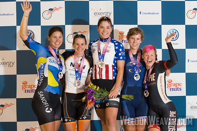 Women's Podium.   2012 USA Cycling Elite Omnium Track National Championships. August 18, 2012. Rock Hill, S.C.   Photo by Weldon Weaver.