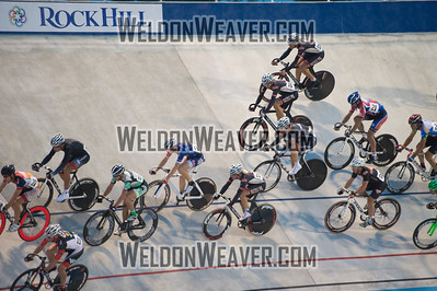 Photo by Weldon Weaver.  Points race field.   2012 USA Cycling Elite Omnium Track National  Championships. August 17, 2012. Rock Hill, S.C.
