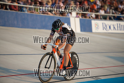 Elizabeth Newell (Now and Novartis)  laps the field with a solo effort and wins the Women's Scratch Race.   2012 USA Cycling Elite Omnium Track National Championships. August 18, 2012. Rock Hill, S.C.   Photo by Weldon Weaver.