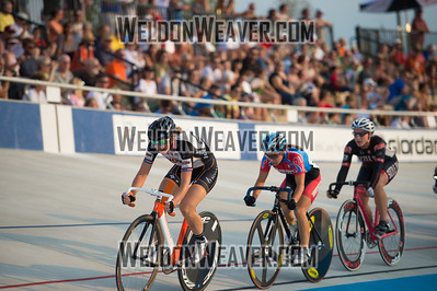 Elizabeth Newell (Now and Novartis) drives the field to remain the only the racer to lap the field and wins the Women's Scratch Race.   2012 USA Cycling Elite Omnium Track National Championships. August 18, 2012. Rock Hill, S.C.   Photo by Weldon Weaver.