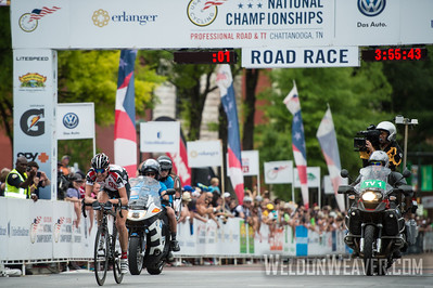 The final solo break.   Phil Gaimon was awarded the Most Couragous Rider.  2013 US Pro Championships.  Chattanooga, TN.  Photo by Weldon Weaver.