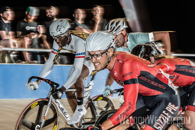 Jake Duehring.  Madison action at the 2013 Mass Start Track National Championships.  Photo by Weldon Weaver.