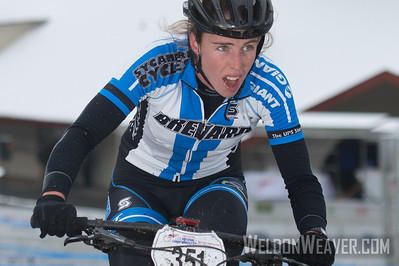 Division 2 Omnium winner Erica Zaveta of Brevard,  won the Short Track, the Downhill and Team Relay.  This photo is from the Short Track race.  USA Cycling Collegiate Mountain Bike National Championships Oct. 25-27 Beech Mountain, NC.  Photo by Weldon Weaver.   Select and share.