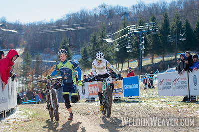 Cross Country Division 1 and Division 2 Men.  USA Cycling Collegiate Mountain Bike National Championships Oct. 26 - Beech Mountain, NC.  Photo by Weldon Weaver.   Select and share.