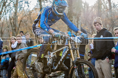 Downhill Division 1 and Division 2 Men.  USA Cycling Collegiate Mountain Bike National Championships Oct. 26 - Beech Mountain, NC.  Photo by Weldon Weaver.