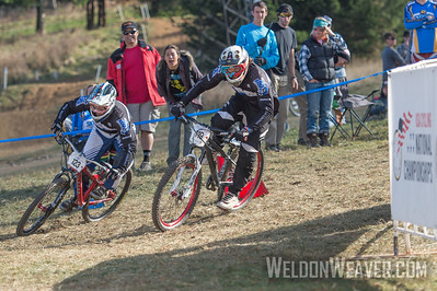 Josh Patton of Lindsey Wilson College wins the  Division 1 dual slalom race over teammate John Swanguen.  USA Cycling Collegiate Mountain Bike National Championships Oct. 27 - Beech Mountain, NC.  Photo by Weldon Weaver.   Select and share.